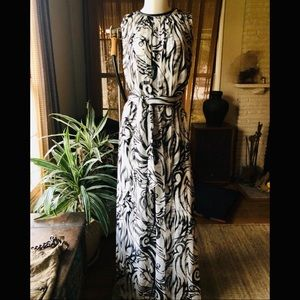 Thomas Wylde silk slvless tribal print maxi dress